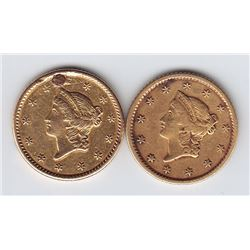 World Gold - United States of America $1 Gold Coins, 1849 & 1852
