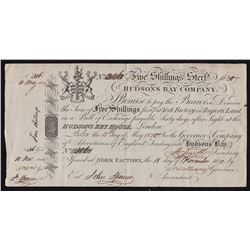 HUDSON'S BAY COMPANY. Five Shillings. York Factory Issue. London Date: 11 May, 1820.