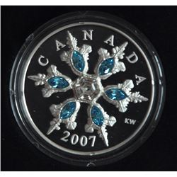 2007 $20 Blue Crystal Snowflake Sterling Silver
