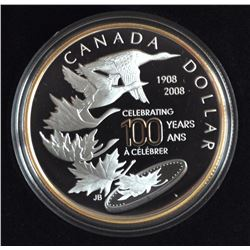2008 Special Edition Proof .925 Silver Dollar Celebrating 100 Years Royal Canadian Mint