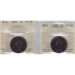 1885 & 1888 Newfoundland One Cent