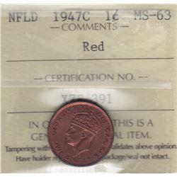 1947C Newfoundland One Cent