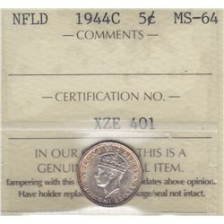1944C Newfoundland Five Cents