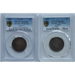 Lot of Two 1859 One Cent - Double Punch, Narrow 9