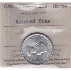 1964 Twenty Five Cents - Rotated Dies