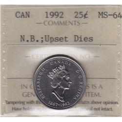 1992 New Brunswick Twenty Five Cents