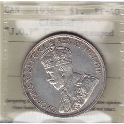1936 Silver Dollar J.O.P. Counterstamped