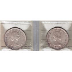 1954 Silver Dollars - Lot of Two ICCS Graded MS-64