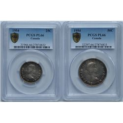 Lot of Two 1954 PCGS PL-66 Graded Coins
