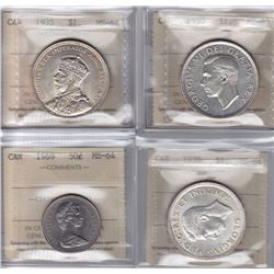 Lot of 4 ICCS Graded Coins