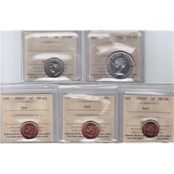 Lot of Five Canadian ICCS Graded Coins