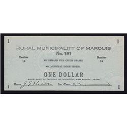 Rural Municipality of Marquis $1, Saskatchewan #191 Municipal Indebtedness Depression Scrip.