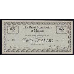 Rural Municipality of Marquis $2, Saskatchewan #191 Municipal Indebtedness Depression Scrip.
