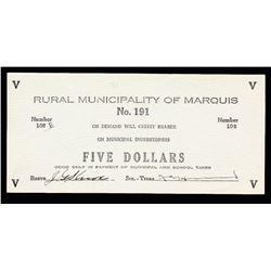 Rural Municipality of Marquis $5, Saskatchewan #191 Municipal Indebtedness Depression Scrip.