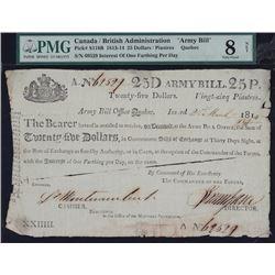 Canada / British Administration $25 Army Bill, 1814.