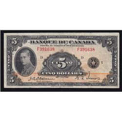 1935 Bank of Canada $5 French
