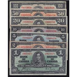 1937 Bank of Canada $1 - $100 Set