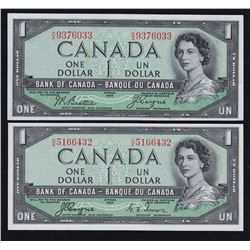 1954 Bank of Canada $1 Devil's Face - Lot of 2
