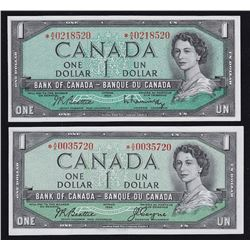 1954 Bank of Canada $1 Replacement - Lot of 2