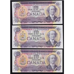 1971 Bank of Canada $10 Replacements - Lot of 3