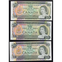 1969 Bank of Canada $20 - Lot of 3