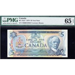 1979 Bank of Canada $5 Test Note