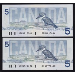Lot of Two 1986 Bank of Canada $5