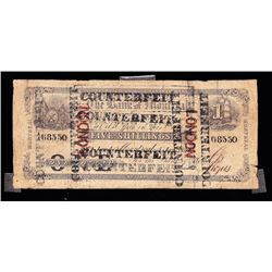 Bank of Montreal, $1, 1852, ovpt London, Contemporary Counterfeit