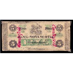 The Bank of Nova Scotia, $5, 1877, Contemporary Counterfeit