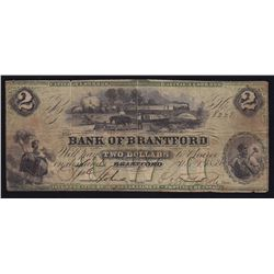 Bank of Brantford $2, 1859