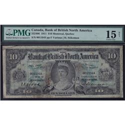 Bank of British North America $10, 1911.