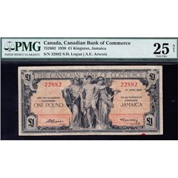 Canadian Bank of Commerce Kingston, Jamaica One Pound, 1938