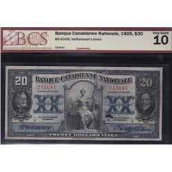 Banque Canadienne Nationale $20, 1925