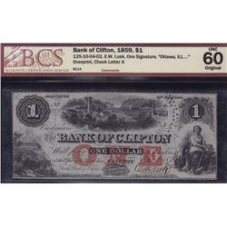 Bank of Clifton $1, 1859