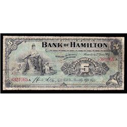 Bank of Hamilton $5, 1904