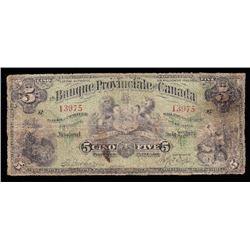 La Banque Provinciale du Canada $5, 1900