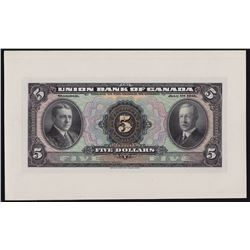 The Union Bank of Canada $5, 1921