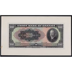 The Union Bank of Canada $100, 1921