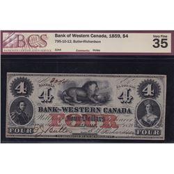 Bank of Western Canada $4, 1859