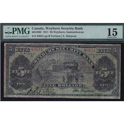 Weyburn Security Bank $5, 1911