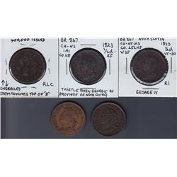 TOKENS OF NOVA SCOTIA  - Group of five 1823 and 1824 Halfpennies