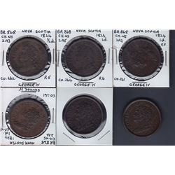 TOKENS OF NOVA SCOTIA  - Br 868. A study group of six pieces.
