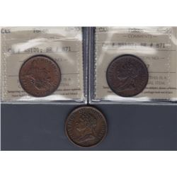 TOKENS OF NOVA SCOTIA  - Co. 265, 266 & 267. Br 871.