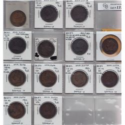 TOKENS OF NOVA SCOTIA  - Group of 13 Thistle counterfeit halfpennies.  Br 871.