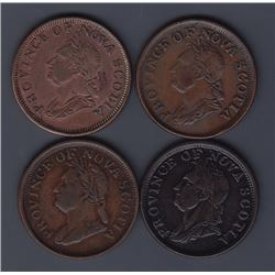 TOKENS OF NOVA SCOTIA  - Group of four nicer Thistle counterfeit pennies.