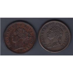 TOKENS OF NOVA SCOTIA  - A pair of Thistle pennies: Co. 285 & 311