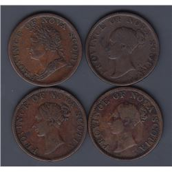 TOKENS OF NOVA SCOTIA  - A group of four scarcer Courteau varieties.