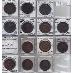 TOKENS OF NOVA SCOTIA  - Group of 14 different Thistle pennies.
