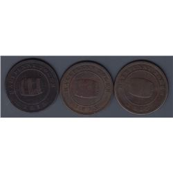NOVA SCOTIA MERCHANT TOKENS - A trio of Co. 341.  Br 890. Miles W. White halfpenny.
