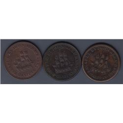 NOVA SCOTIA MERCHANT TOKENS - Three John Alexander Barry halfpennies.  Br 891.